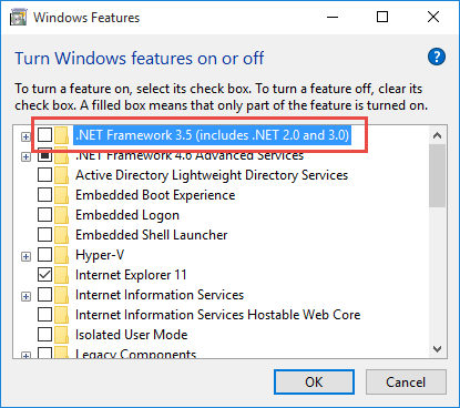Enabling  NET Framework 3 5 1 in Windows 10 OSD using