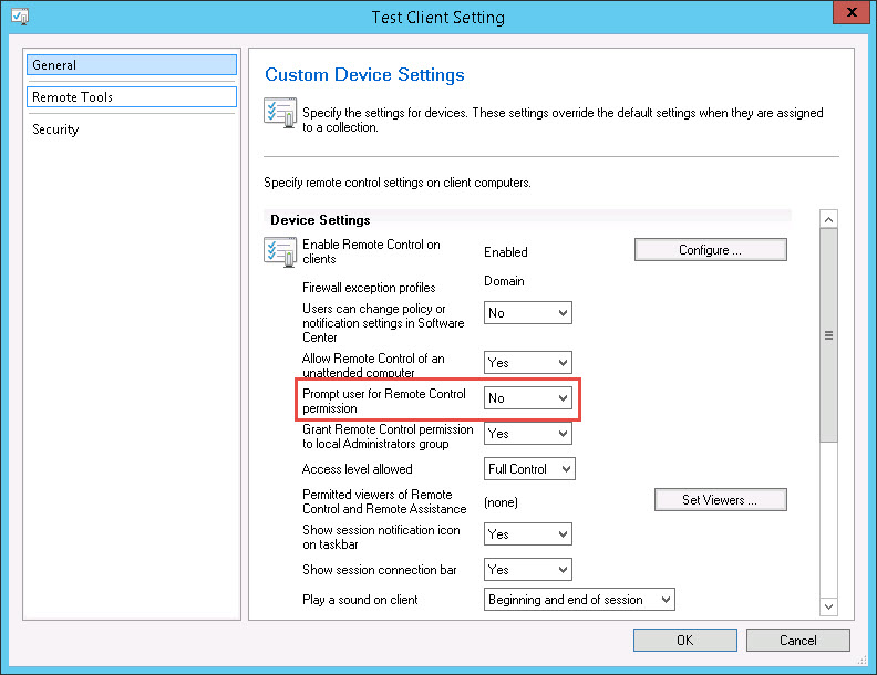 Forcing the ConfigMgr Remote Control Client Settings to