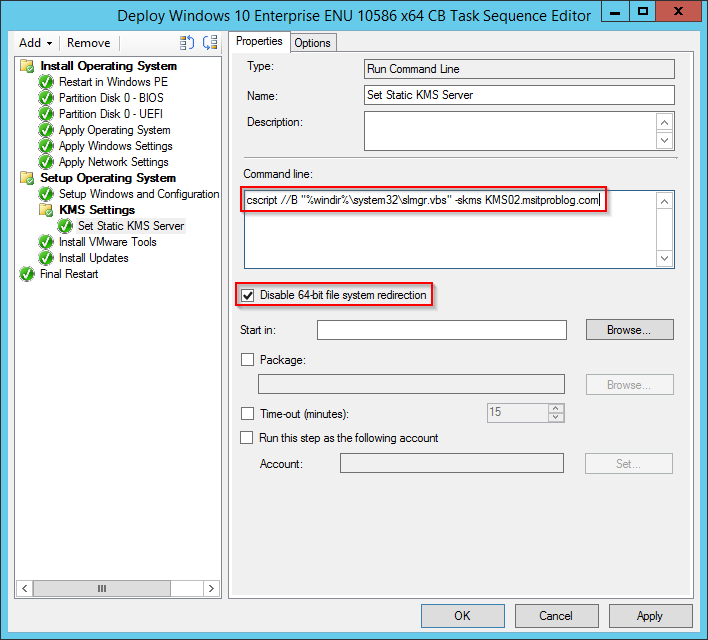 Setting a static KMS Server during OSD in ConfigMgr