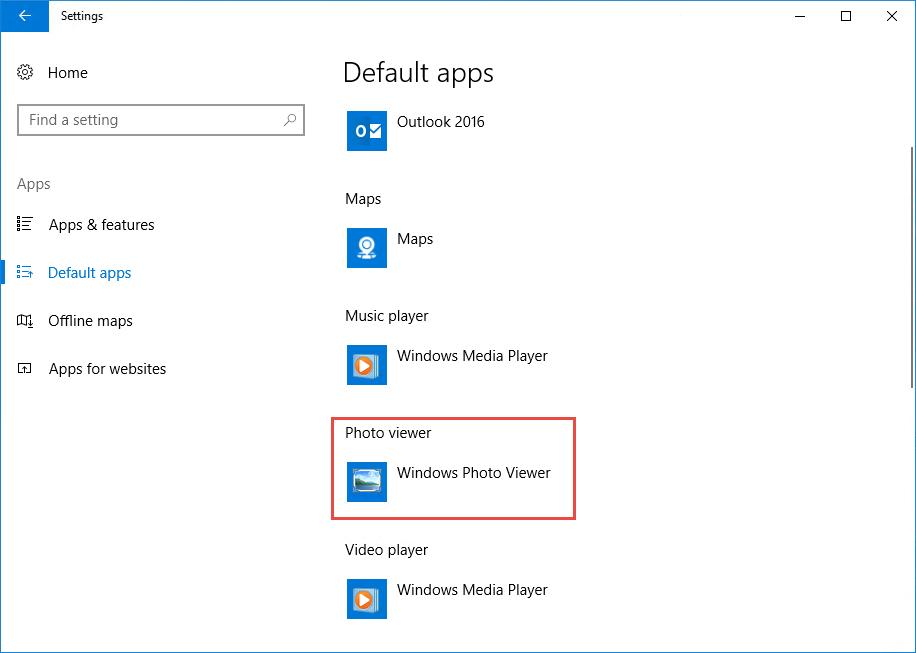 Setting Windows Photo Viewer as Default App on Windows 10