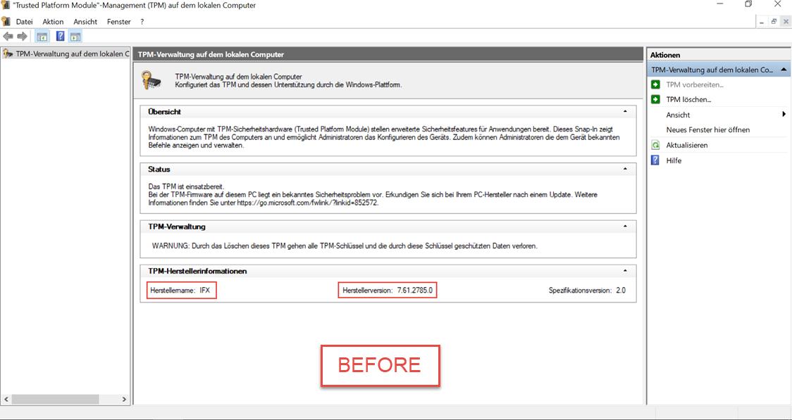 Updating Infineon TPM on Lenovo ThinkPad during OSD using