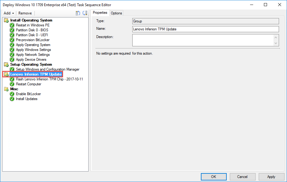 Updating Infineon TPM on Lenovo ThinkPad during OSD using ConfigMgr