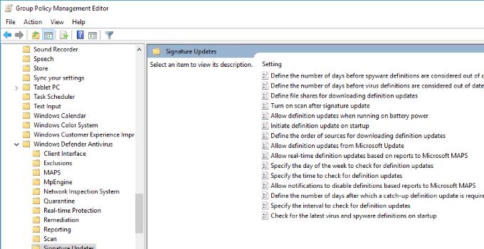 Windows Defender Definitions not updating over Internet
